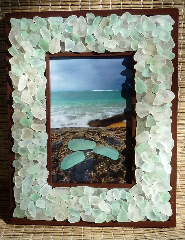 Sea Glass Frame Glowing White and SeaFoam by WaterColorSkyBlue ...