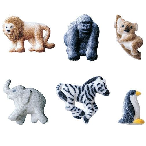 Zoo Party Bakery Cupcake Sugar Toppers qty 24 by BonFortune, $7.95