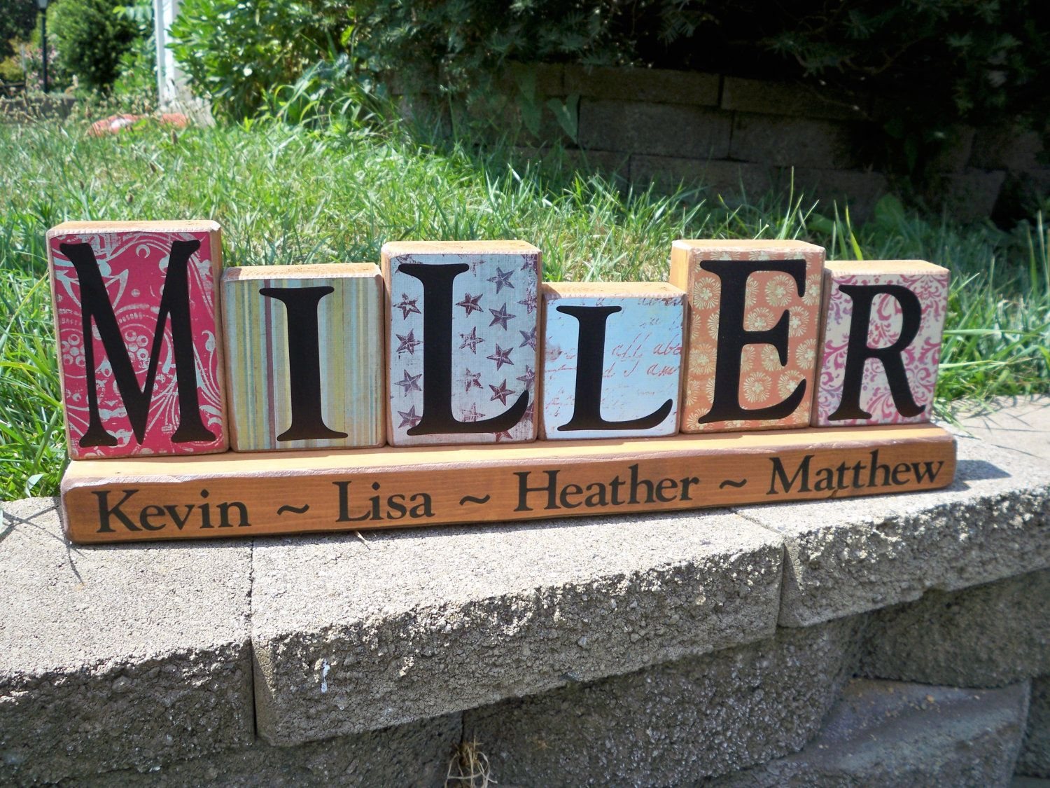 Piece Family Name Block Set Miller Style By Simplysaidsayings