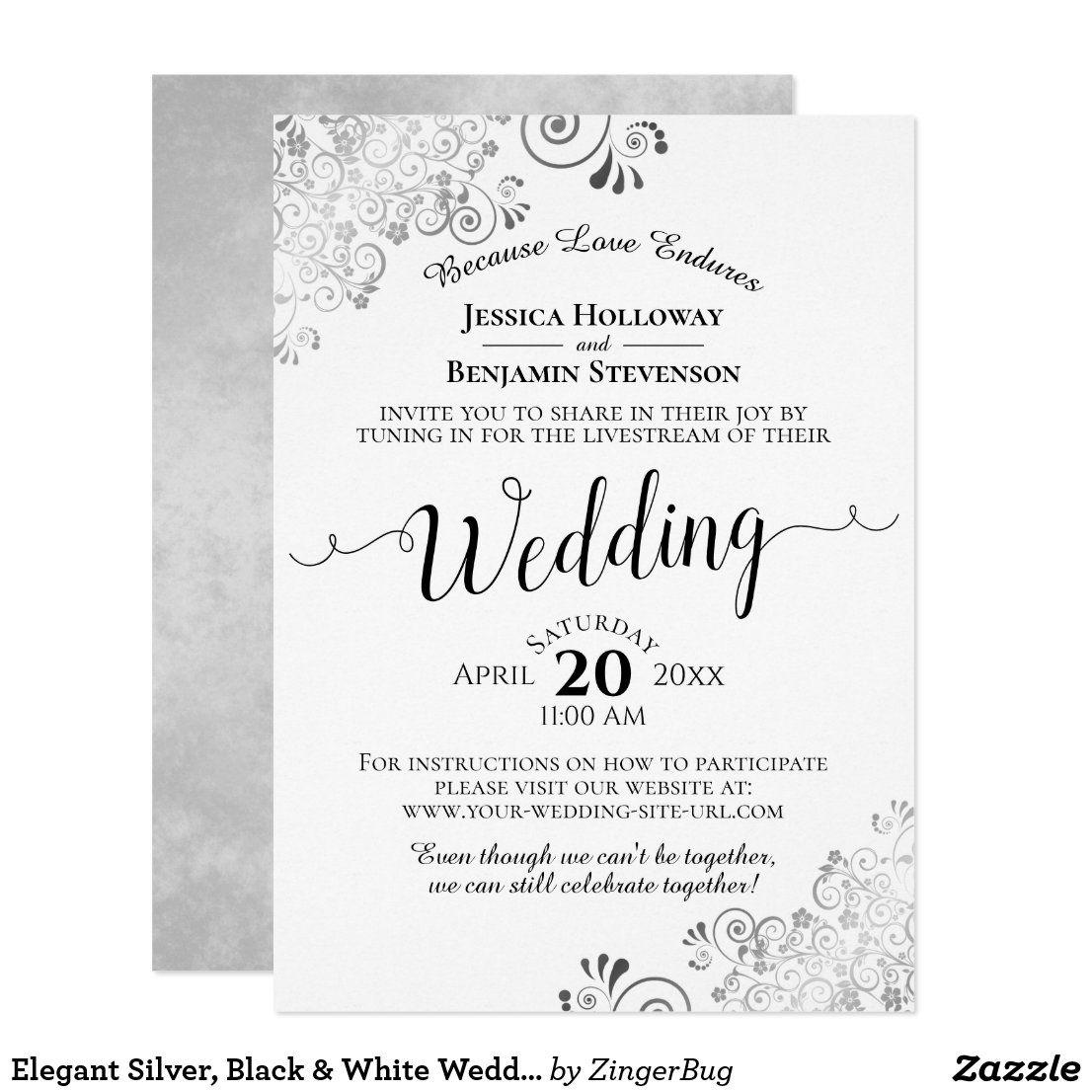 Elegant Silver, Black & White Wedding Livestream