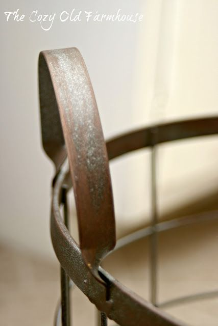 """The Cozy Old """"Farmhouse"""": Antique Potato Basket...or is it? How to paint metal to look antique."""