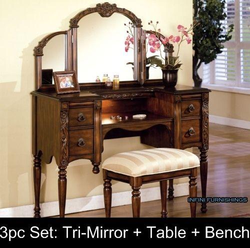 Details About White Tri Folding Mirror White Wood Vanity