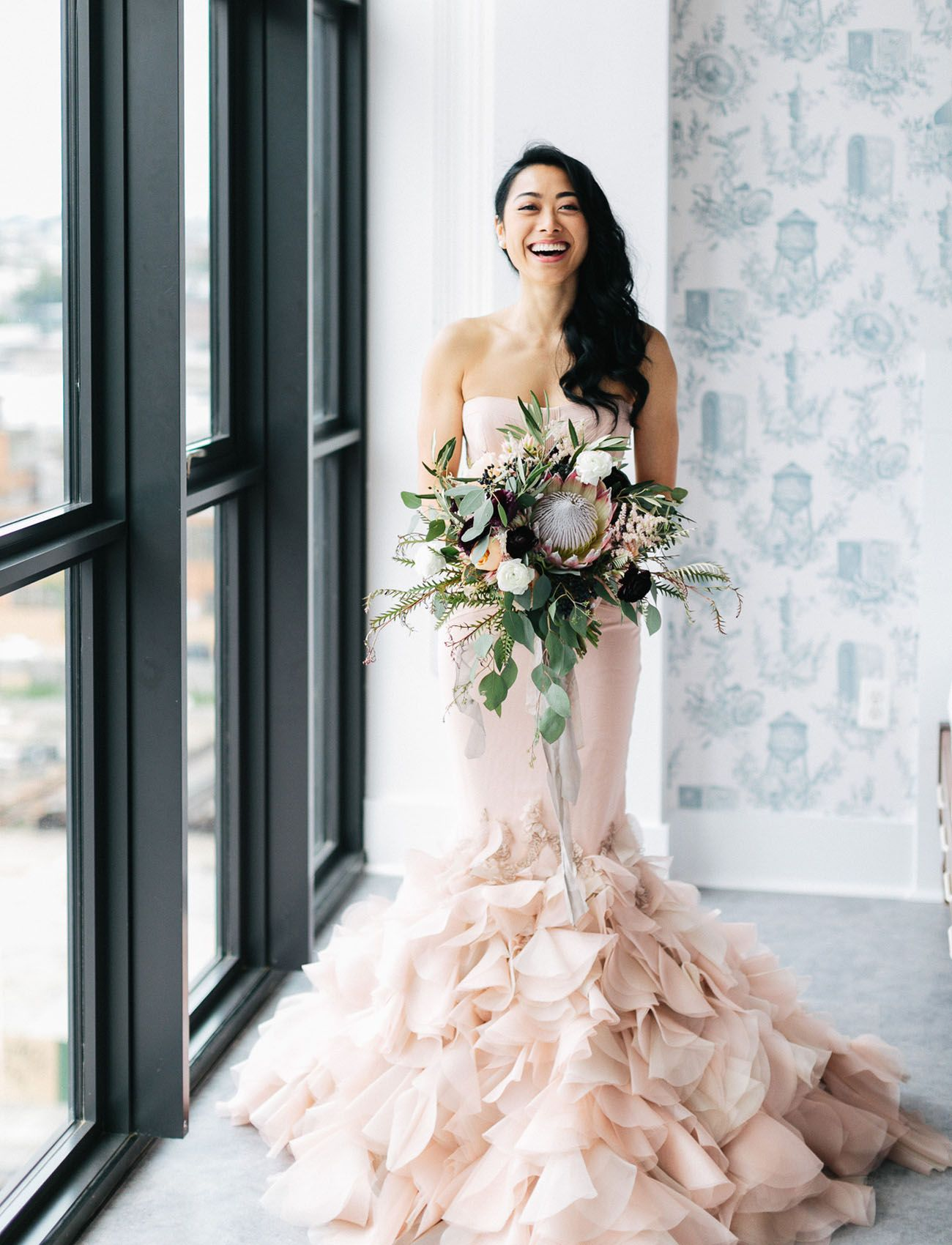 98ebfa4f6612 The Bride Wore a Stunning Blush Dress at this Industrial Modern Wedding