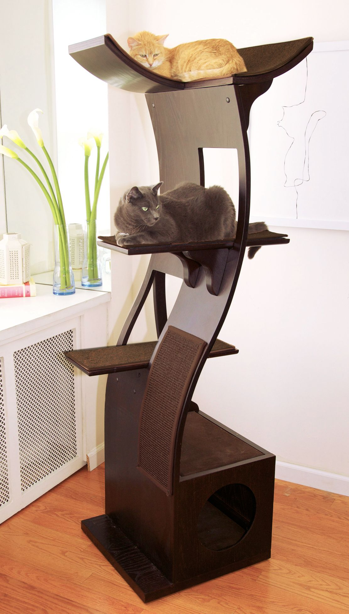 The lotus cat tower a new take on modern cat furniture