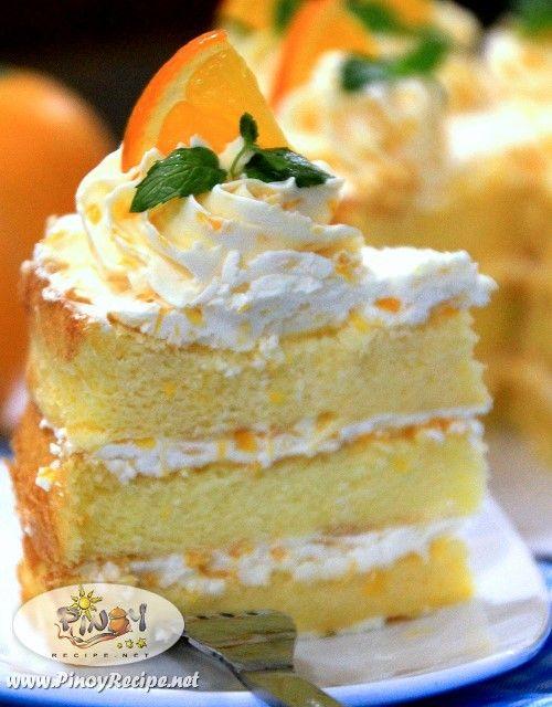 Orange Sponge Cake Recipe Pinteres