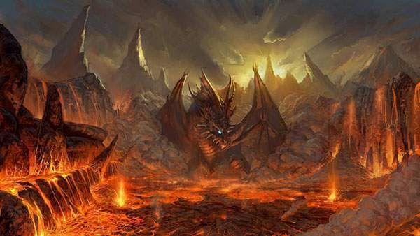 溶岩の中の炎の龍を描いた美しいイラスト壁紙画像 Dragons ドラゴン