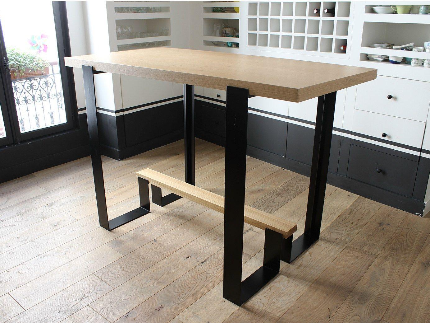 Mesa alta en acero y madera mayet bar by alex de rouvray for Mesa alta madera bar