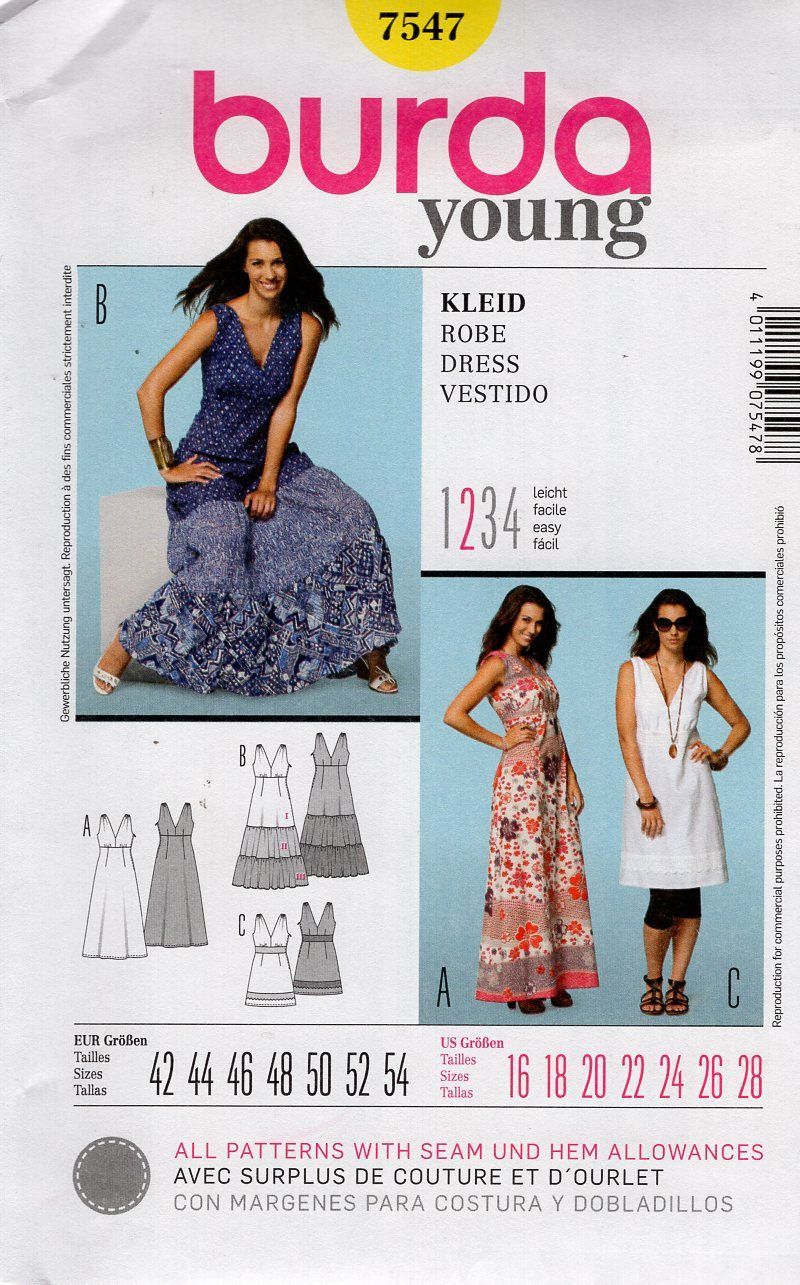 Burda 7547 Sewing Pattern Free Us Ship Folk Bohemian Evening Length ...