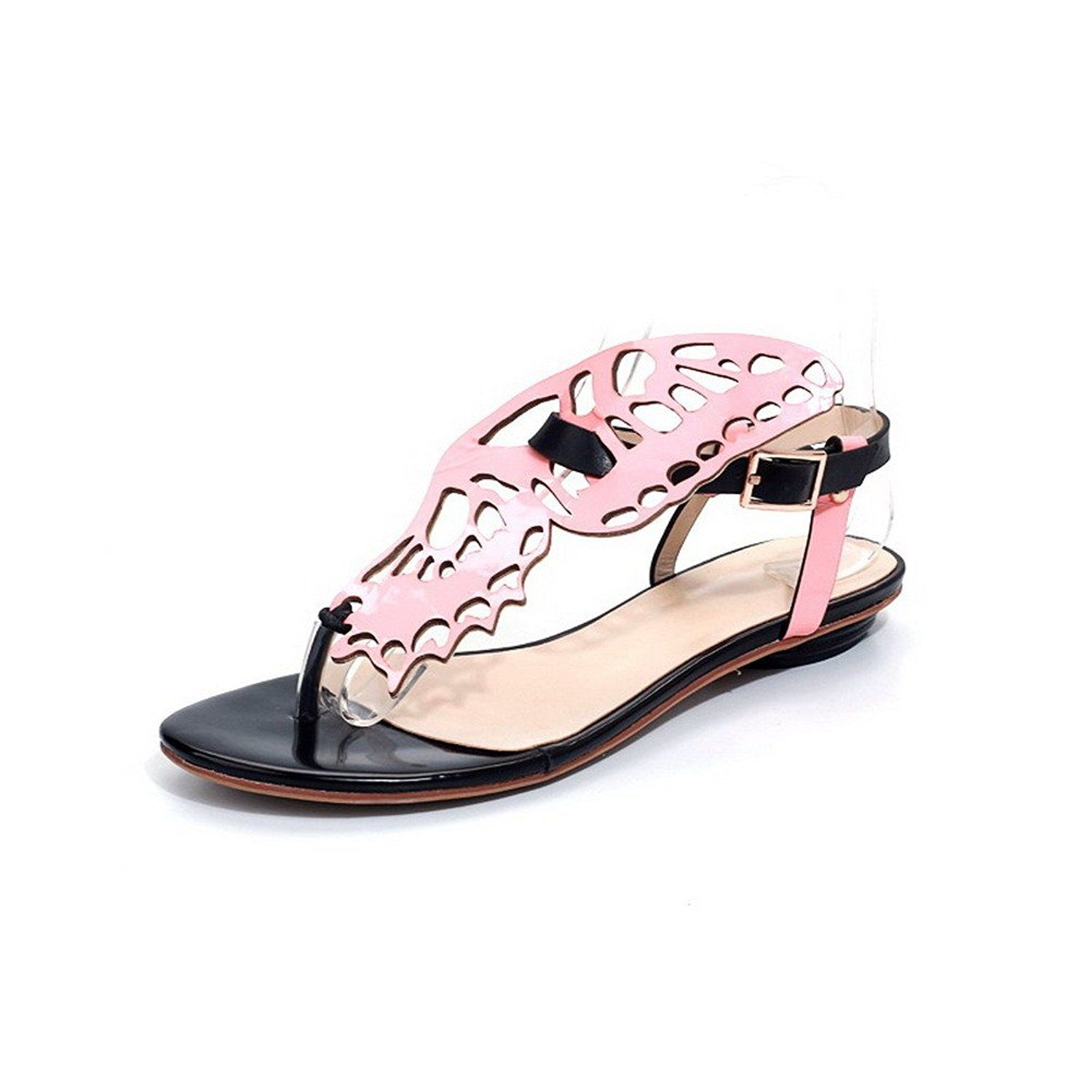 AmoonyFashion Women's Thong Toe Flats Cow Leather Patent Leather Assorted Colors Sandals >>> You can get more details by clicking on the image.