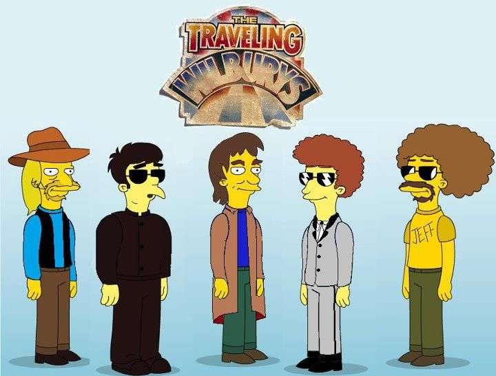 The Traveling Wilburys drawn as Simpsons characters.
