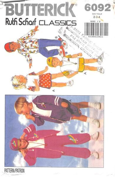 BUTTERICK 6092 - FROM 1992 - UNCUT - CHILDRENS JACKET, TOP, SHORTS, PANTS & HAT