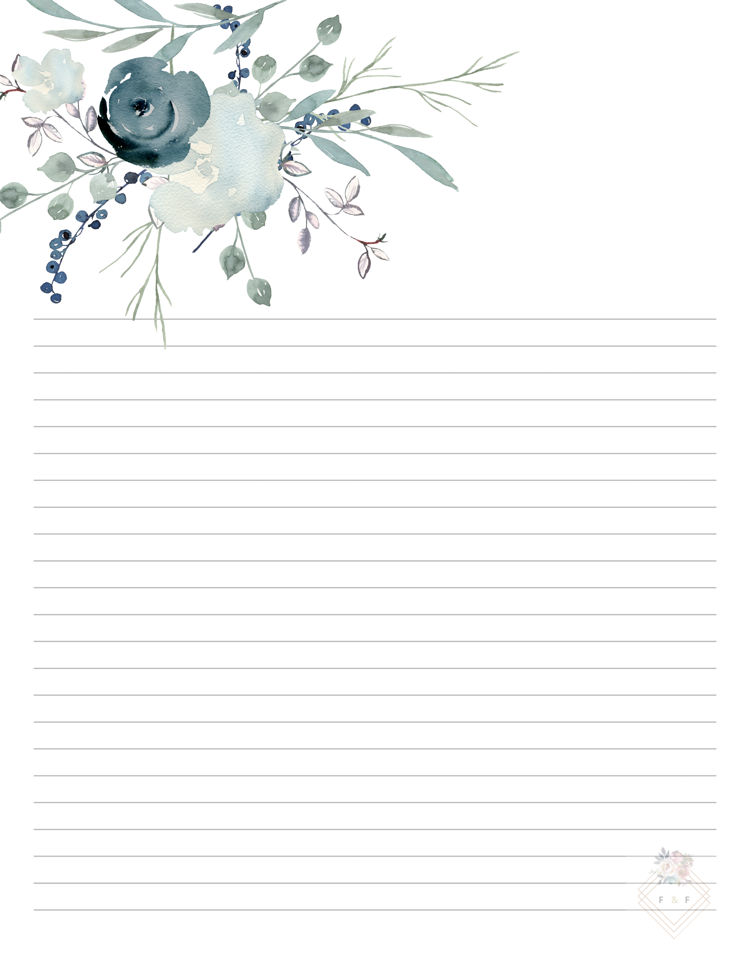 Blue Printable Letter Paper Set Floral Writing Paper 10 Page Set Watercolor Print Indigo Digital Printable Pdf Office Supplies Journal Writing Paper Printable Stationery Writing Paper Printable Writing Paper