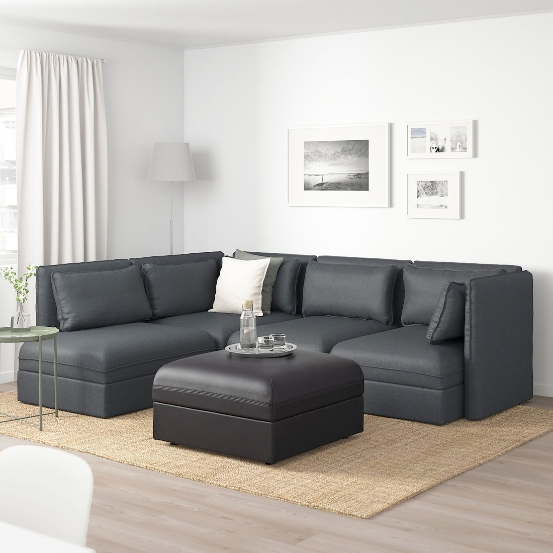 Vallentuna Modular Corner Sofa 4 Seat With Storage Hillared Murum Dark Gray Black Ikea In 2020 Modular Corner Sofa Corner Sofa Ikea