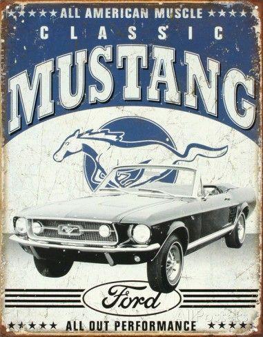 Plaque métal déco Mustang Classic – Retro Wheels