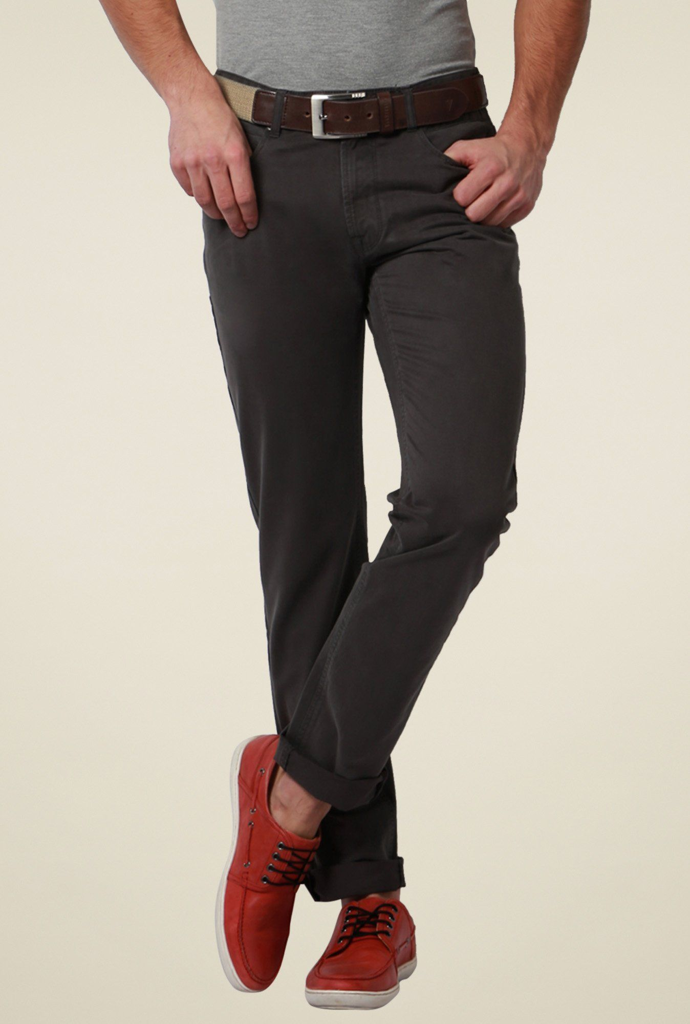 b9c839620 Peter England Grey Mid Rise Trousers -