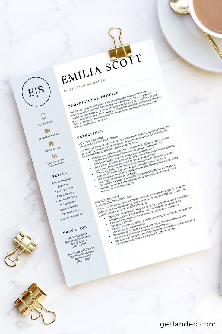 Creative, Stylish Resume Template for Word & Pages, Nurse