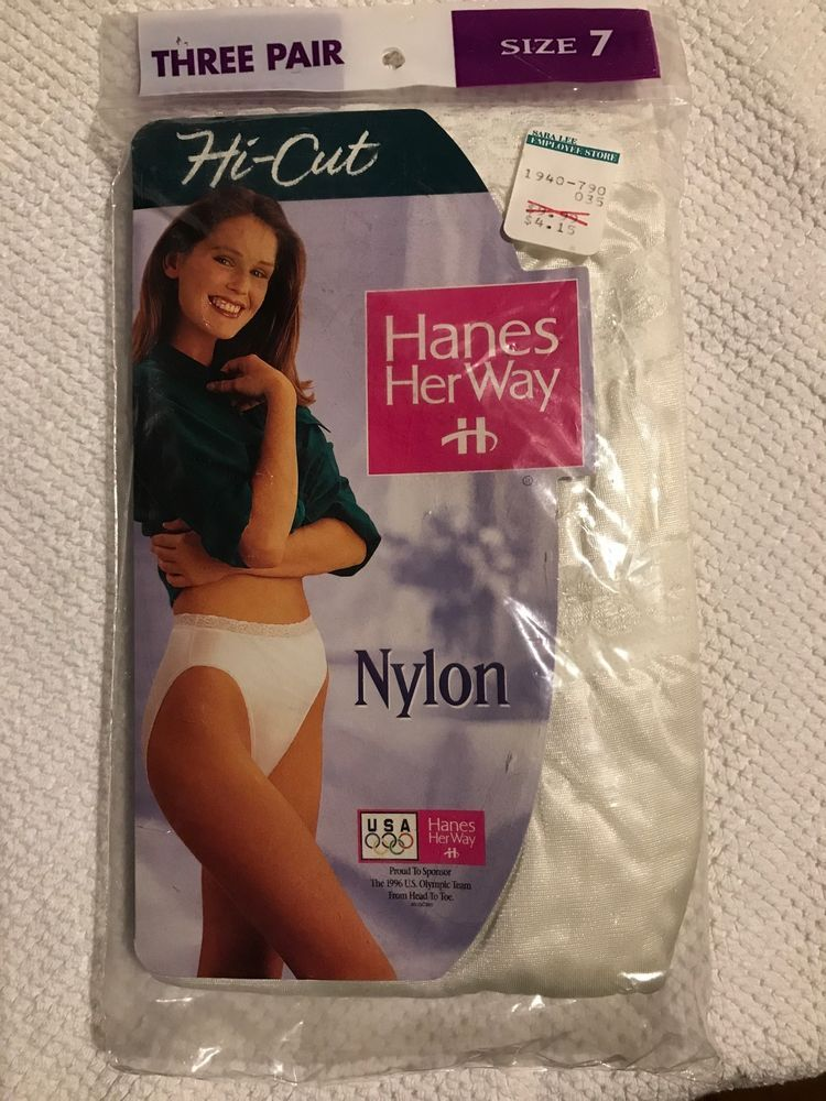 2a973f62e33af Hanes Her Way Hi-Cut Nylon Panties White Silky NEw 1994 SZ 7 Lace Band 3 Pk