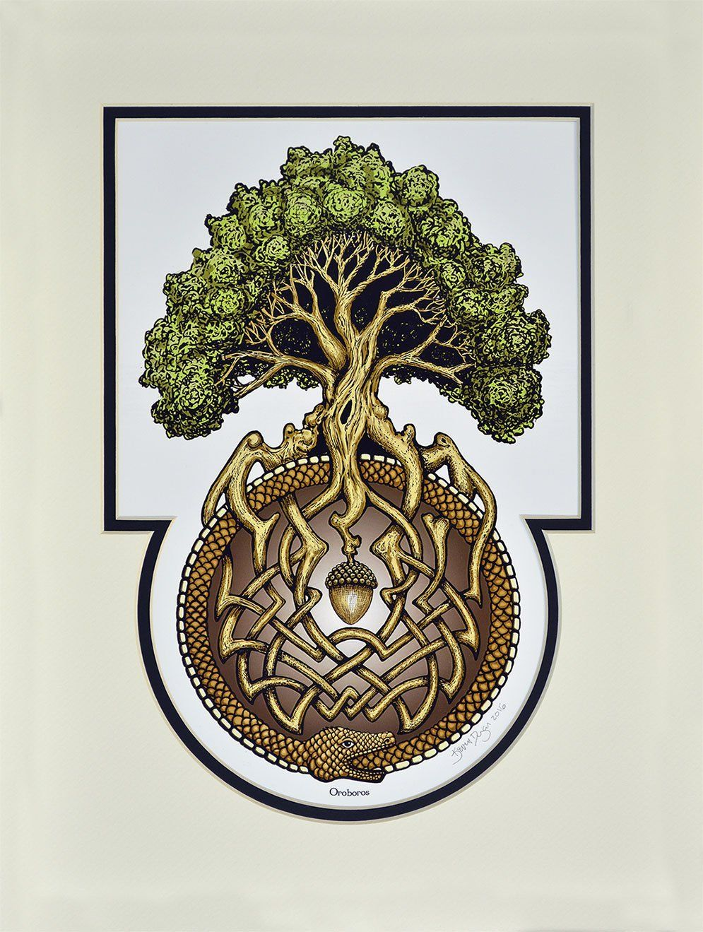Ouroboros tree digital art print arbor great oak acorn the serpent or dragon eating its own tail is an ancient symbol seen in many cultures it represents both devouring and recreating of oneself buycottarizona Image collections
