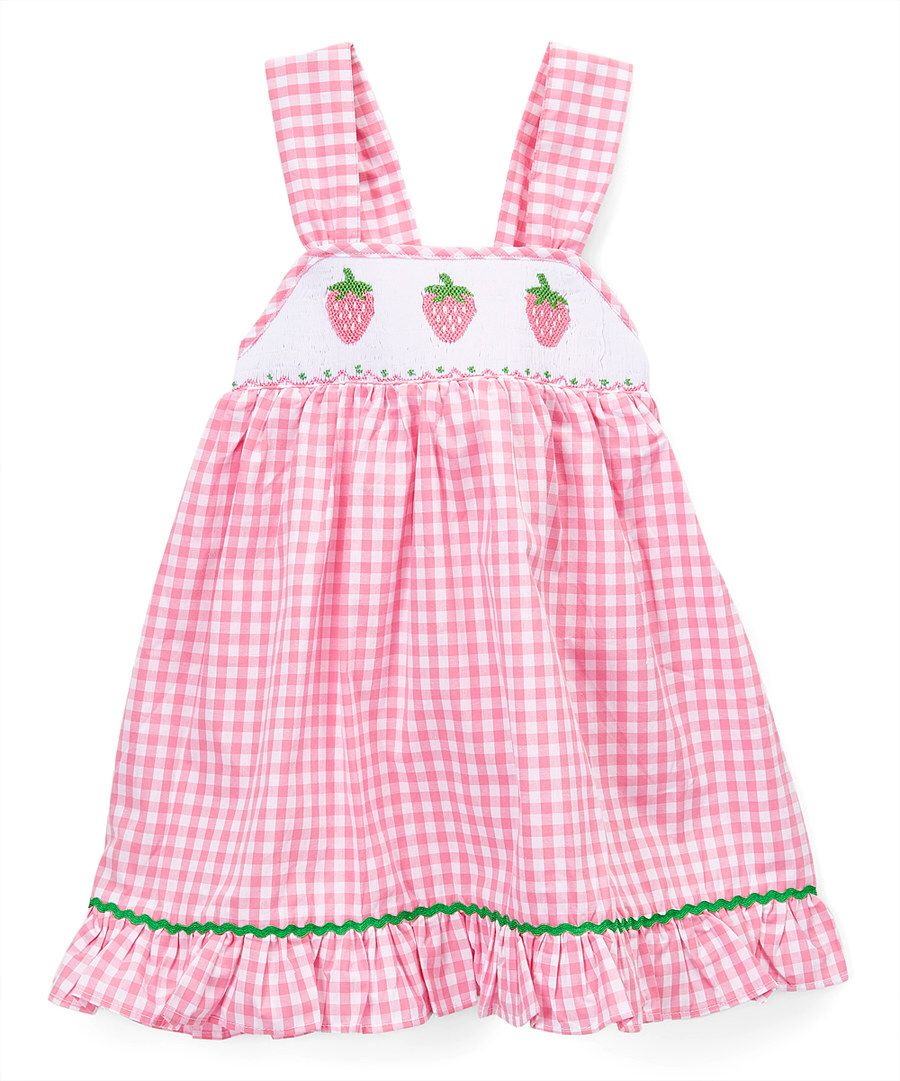 8889646f6 Look at this Barefoot Children s Clothing Pink Gingham Strawberry ...