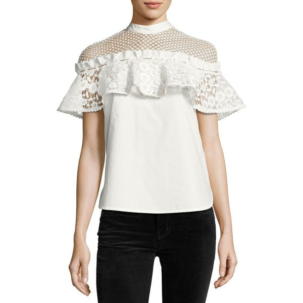 a2911379 Self-Portrait Hudson Dot-Mesh Poplin Top ($340) ❤ liked on Polyvore  featuring tops, white, women's apparel tops, flutter sleeve top, flounce  tops, ...