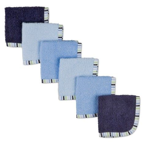 6pk Woven Terry Washcloths Blue Baby Towel Baby Wish List
