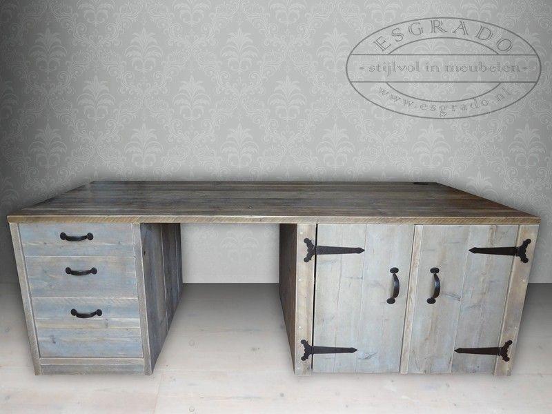 Robuust steigerhout bureau steigerhouten bureau op maat for Steigerhout bureau