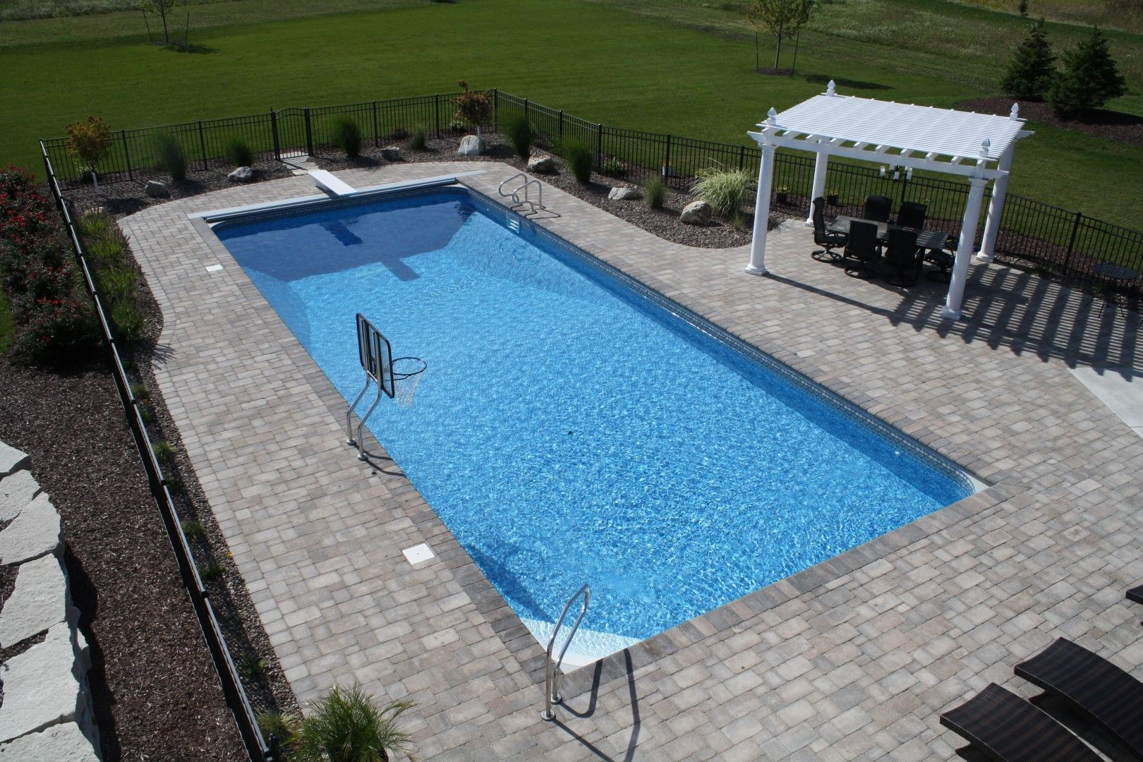 Pool automatic cover rectangle completed inground for Inground pool designs