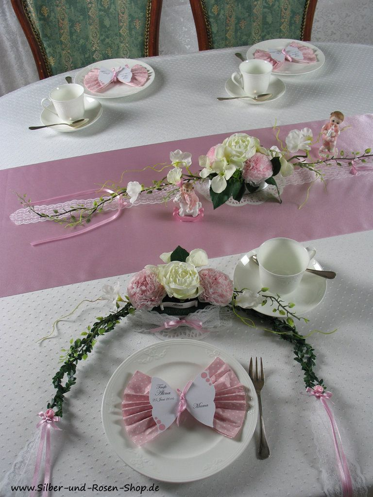 Tischgesteck rosa Taufe Mdchen  table settings