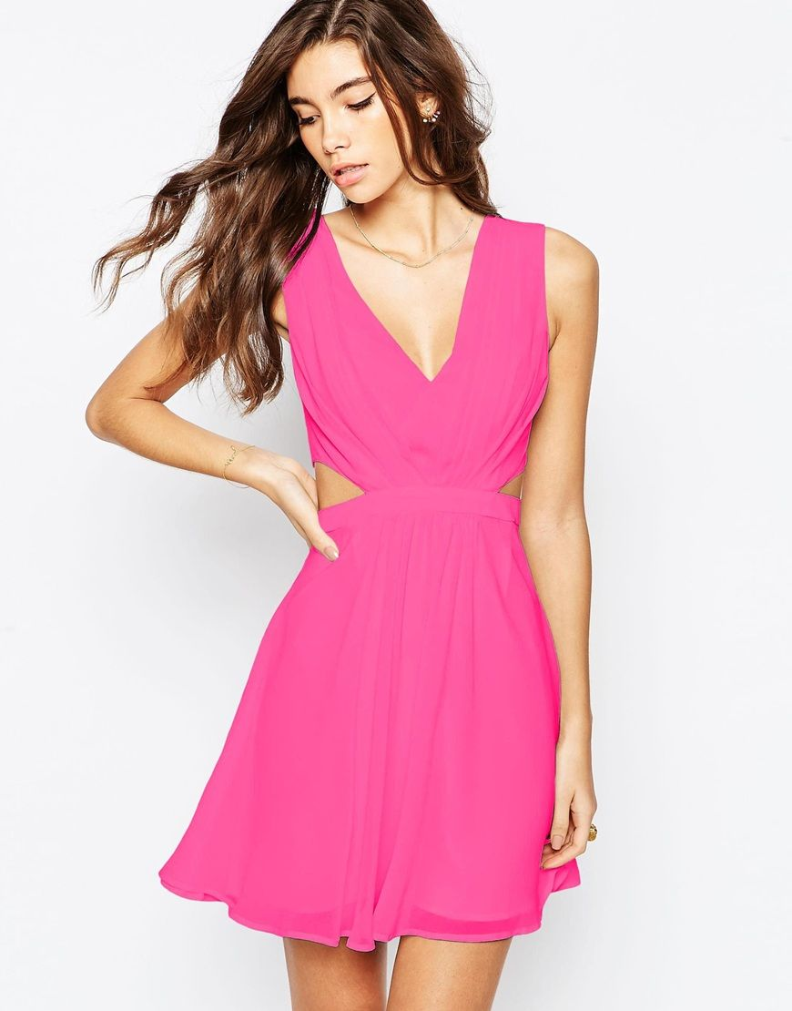Image 1 of ASOS Side Cut Out Mini Dress | Pretty in Hot Pink - Vegan ...
