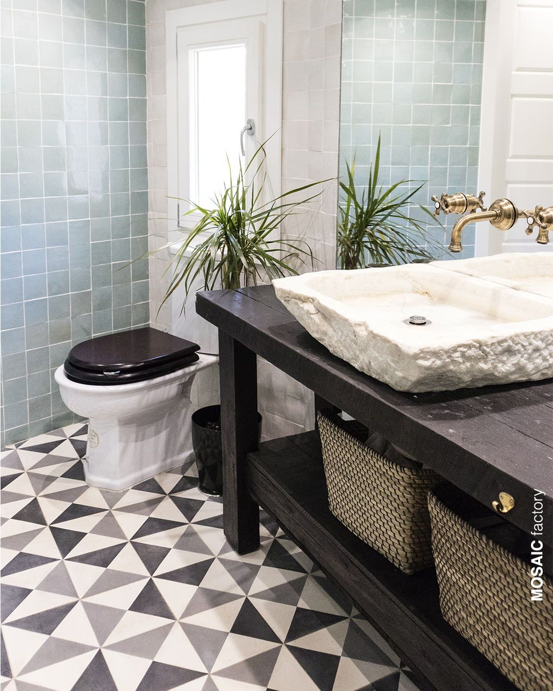 Light Blue Bathroom Wall Tiles And Grey And White Cement Tiles With Geometric Tile Pattern Geometric Tiles Bathroom Bathroom Wall Decor Diy Grey Bathroom Floor