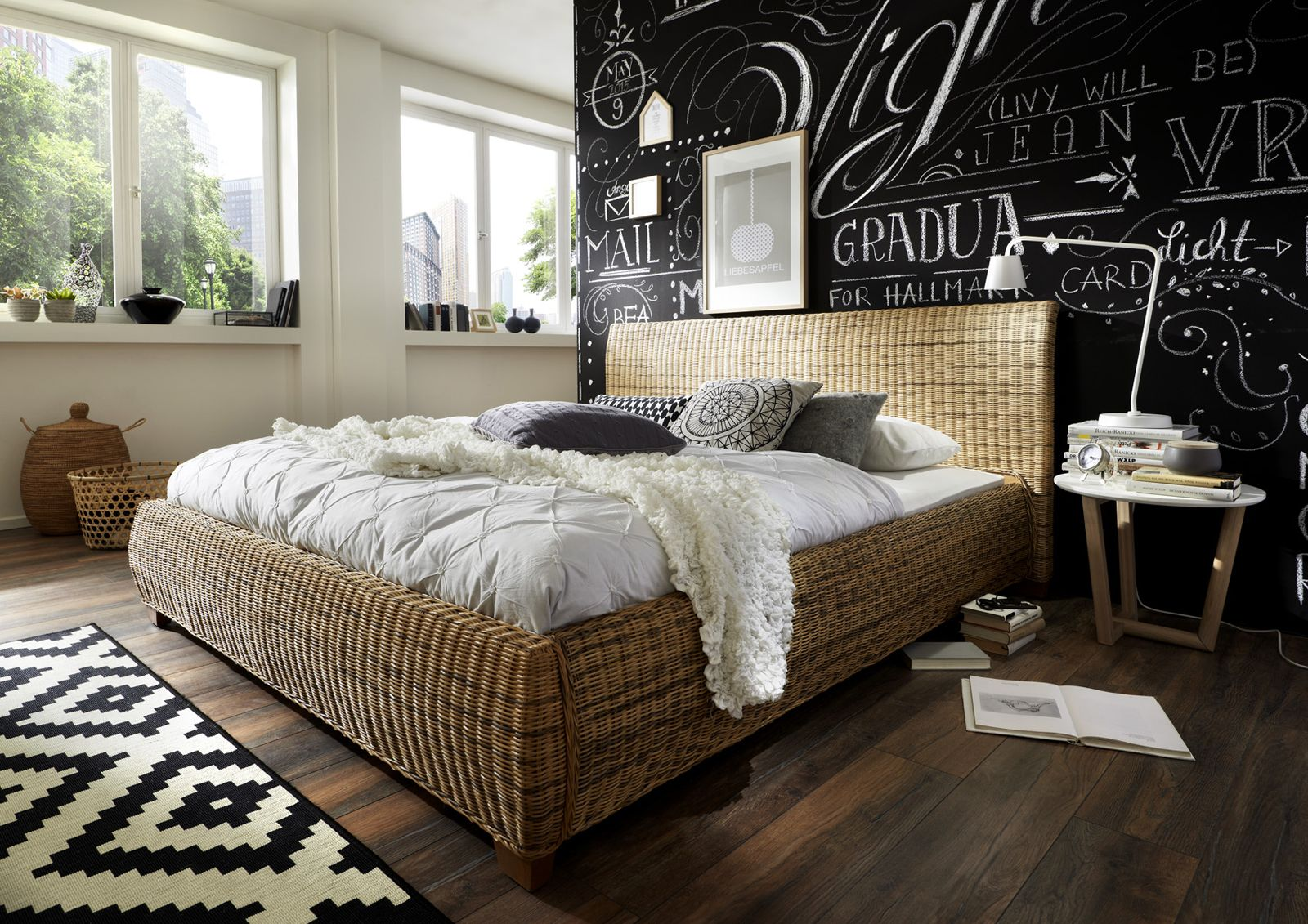 sam rattanbett 140 x 200 cm rattan ngan 9134 auf lager. Black Bedroom Furniture Sets. Home Design Ideas