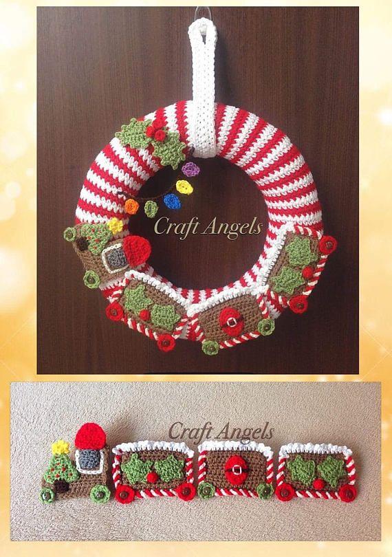 Photo of Items similar to Crochet Christmas Wreath, crochet wreath, crochet train wreath, Christmas train, Christmas deco, Christmas decoration, front door wreath. on Etsy