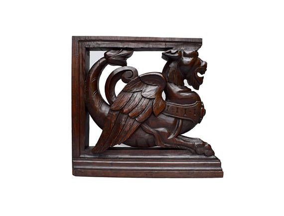 French Antique Hand Carved Oak Wood Griffin Furniture Support   Chimera  Dragon Corbel   Carved Wood