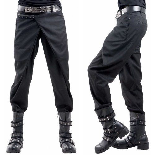 Alternative Black Studded Casual Steampunk Punk Pants Clothing for Men