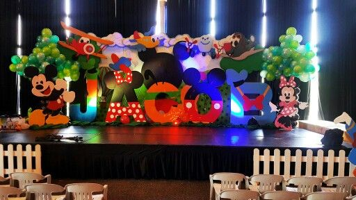 Mickey Mouse Clubhouse Themed Stage Styro Backdrop Disney Party Decorations