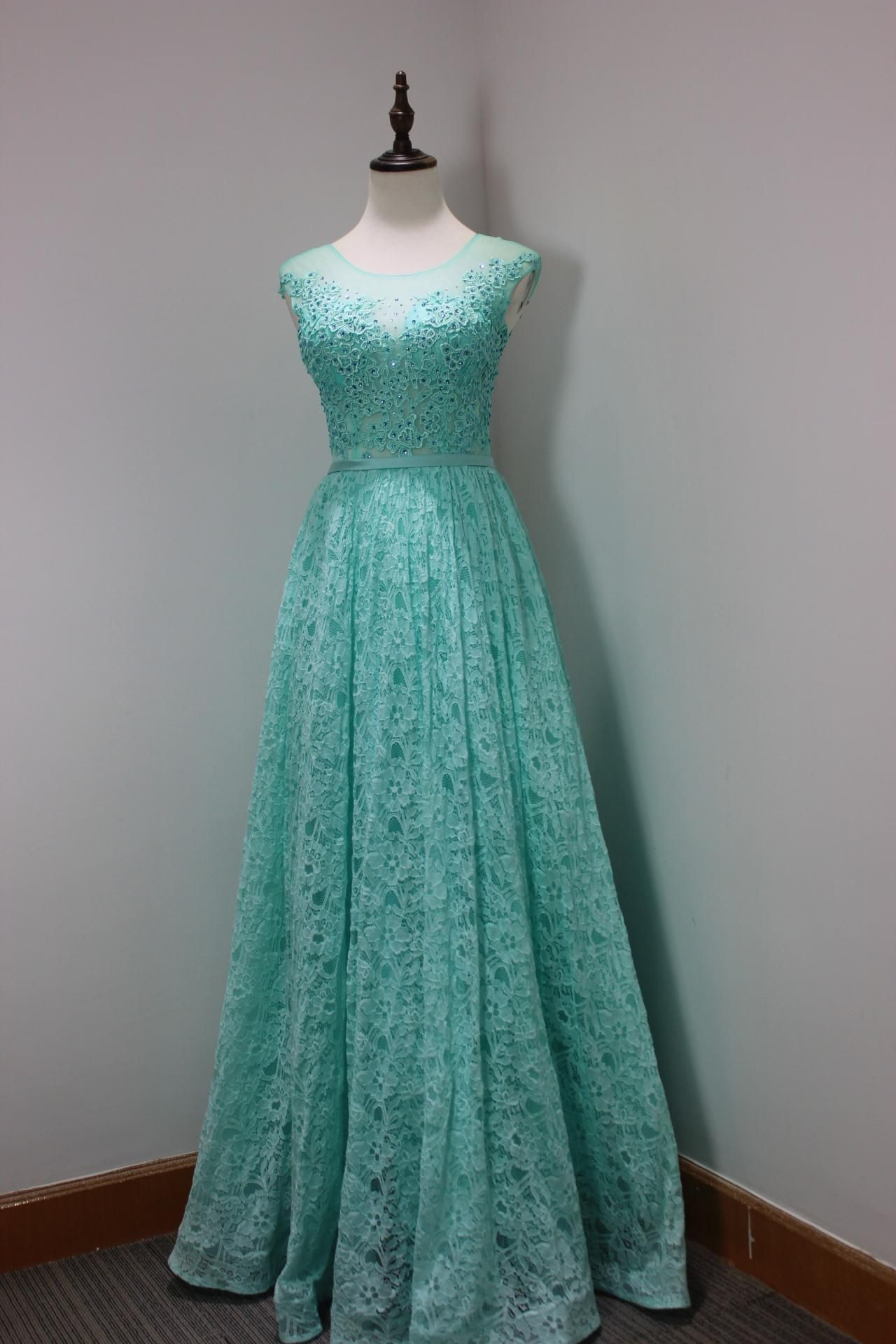 Charming Light Blue Lace Prom Dresses Long Elegant Sheer Neck See ...