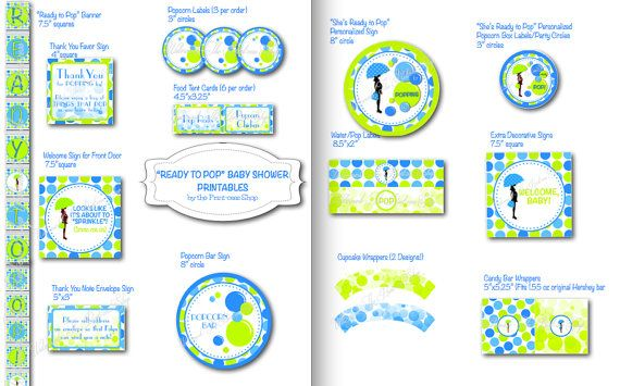 Ready To Pop Baby Shower Printable Decorations By ThePrintcessShop, $25.00