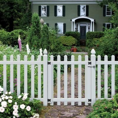 Veranda 3 1 2 Ft W X 4 Ft H White Vinyl Glendale Spaced Picket Fence Gate With 3 In Dog Ear Fence Pickets 181982 The Home Depot Picket Fence Gate Dog Ear Fence Vinyl Fence