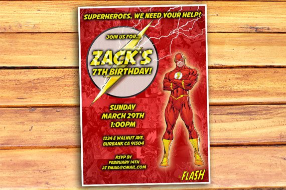 The Flash Birthday Invitation, The Flash Invitation, Flash Birthday, Flash Invite, Flash Party, Justice League Digital Printable Invitation
