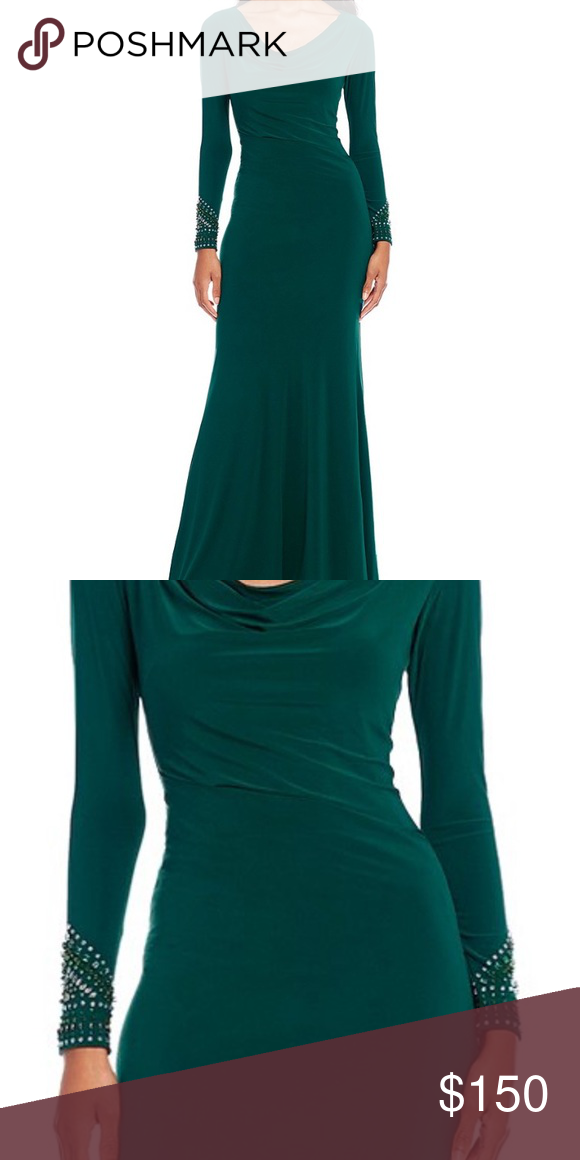 99fc300f2e0 NWT Betsy and Adam cowl neck keyhole back gown NWT. Hunter green color. Cowl  neck and key hole back. Beading on sleeves. Stretchy jersey material Betsy  ...