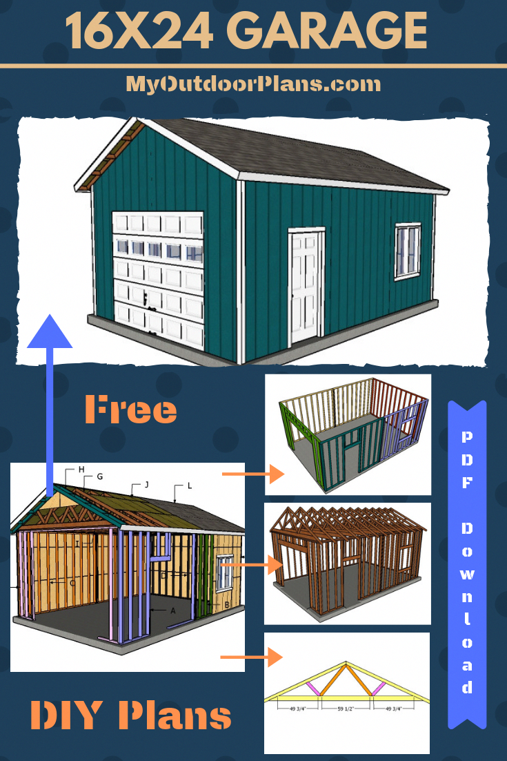 Free plans for building a one car 16x24 detached garage