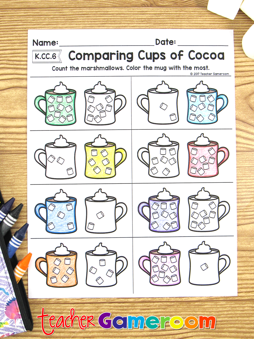 Comparing Cups Of Cocoa Math Worksheets By Teacher Gameroom Teachers Pay Teache Math Worksheets Christmas Math Activities Kindergarten Comparing Numbers