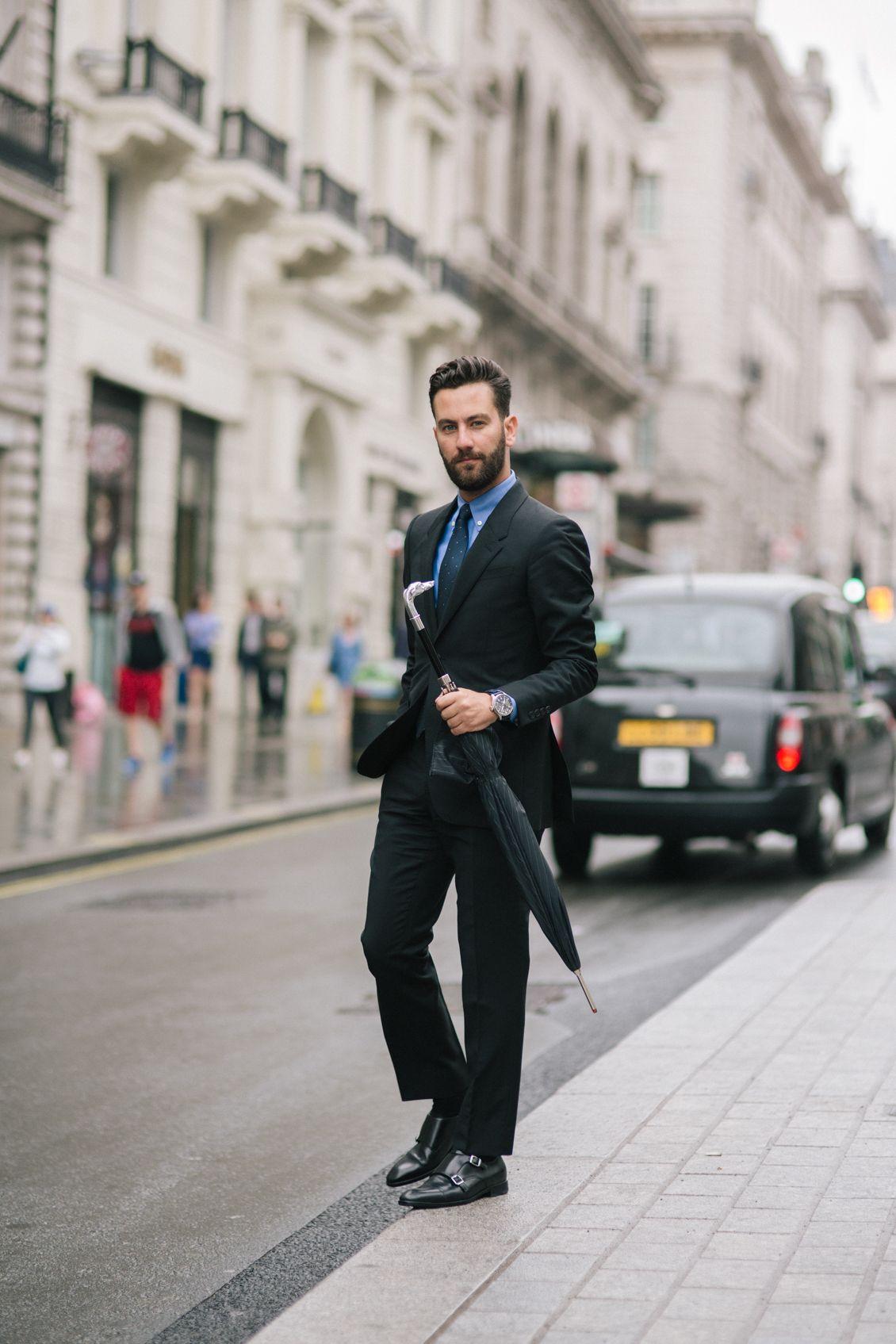 0af74642d7f8 Black suit + blue dress shirt + patterned tie + double monk strap dress  shoes