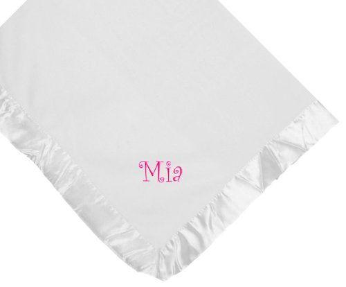 Mia Girl Name Embroidery Microfleece White Baby Embroidered