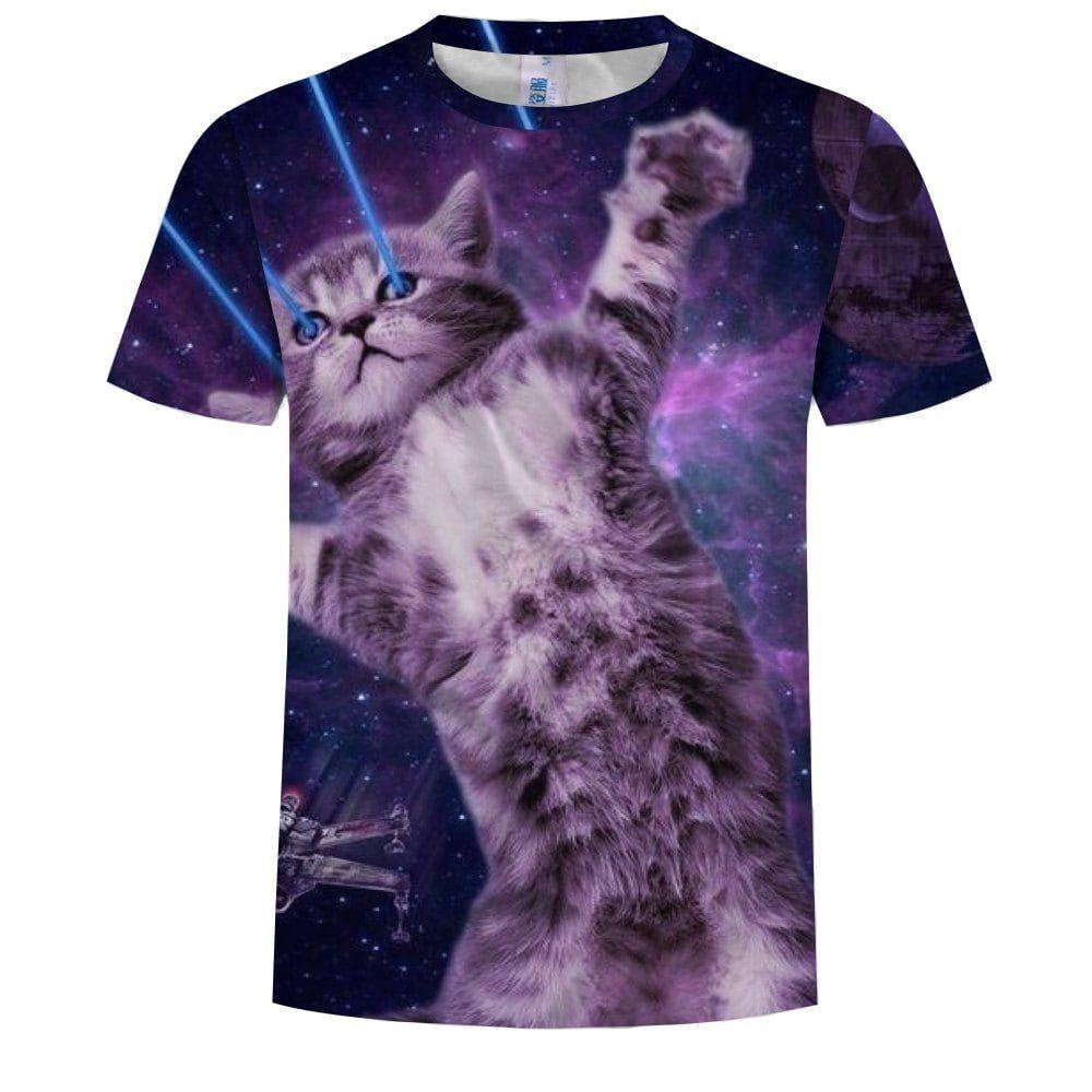 New Round Neck Short Sleeved European Code 3d Printing T Shirt Laser Kitten Cat Tshirt Cat Laser