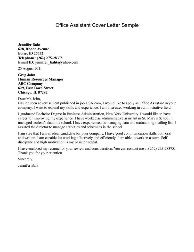 Office Assistant Cover Letter Cover Letter For A Nursing Assistant