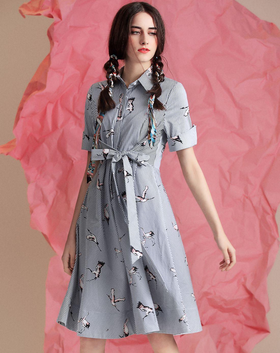 Adorewe vipme skater dressesdesigner yimei blue cotton printed
