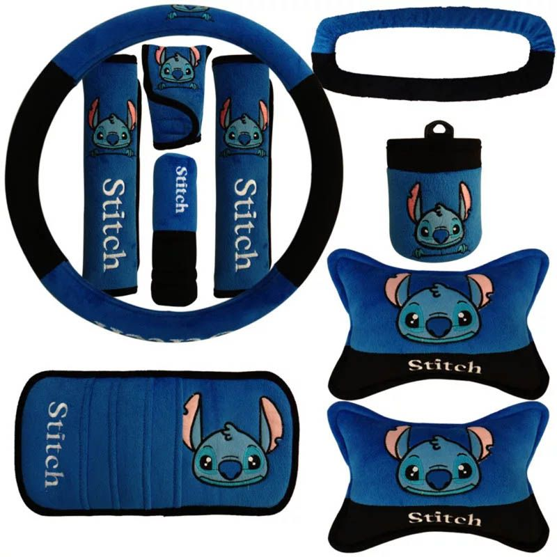 Buy Wholesale 10pcs Stitch Car Seat Interior Accessories Plush Universal Steering Wheel Cover Seat Belt Cover - Blue from Chinese Wholesaler
