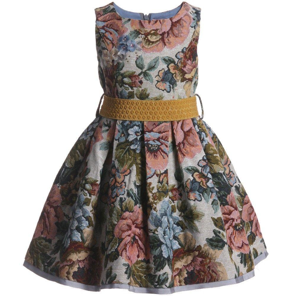 Monnalisa Floral Brocade Dress