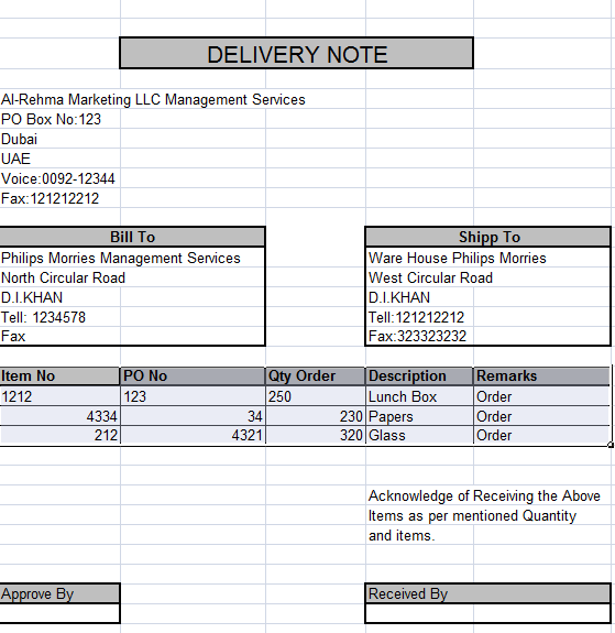 Delivery Note In Excel · Notes TemplateLearning CentersSample ...